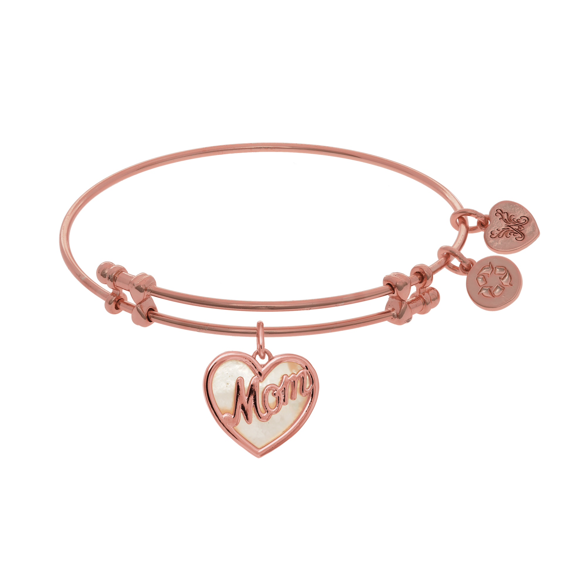 "Heart Shape Mom Charm With Created Mother Of Pearl Expandable Bangle Bracelet, 7.25"" - image 1 of 1"