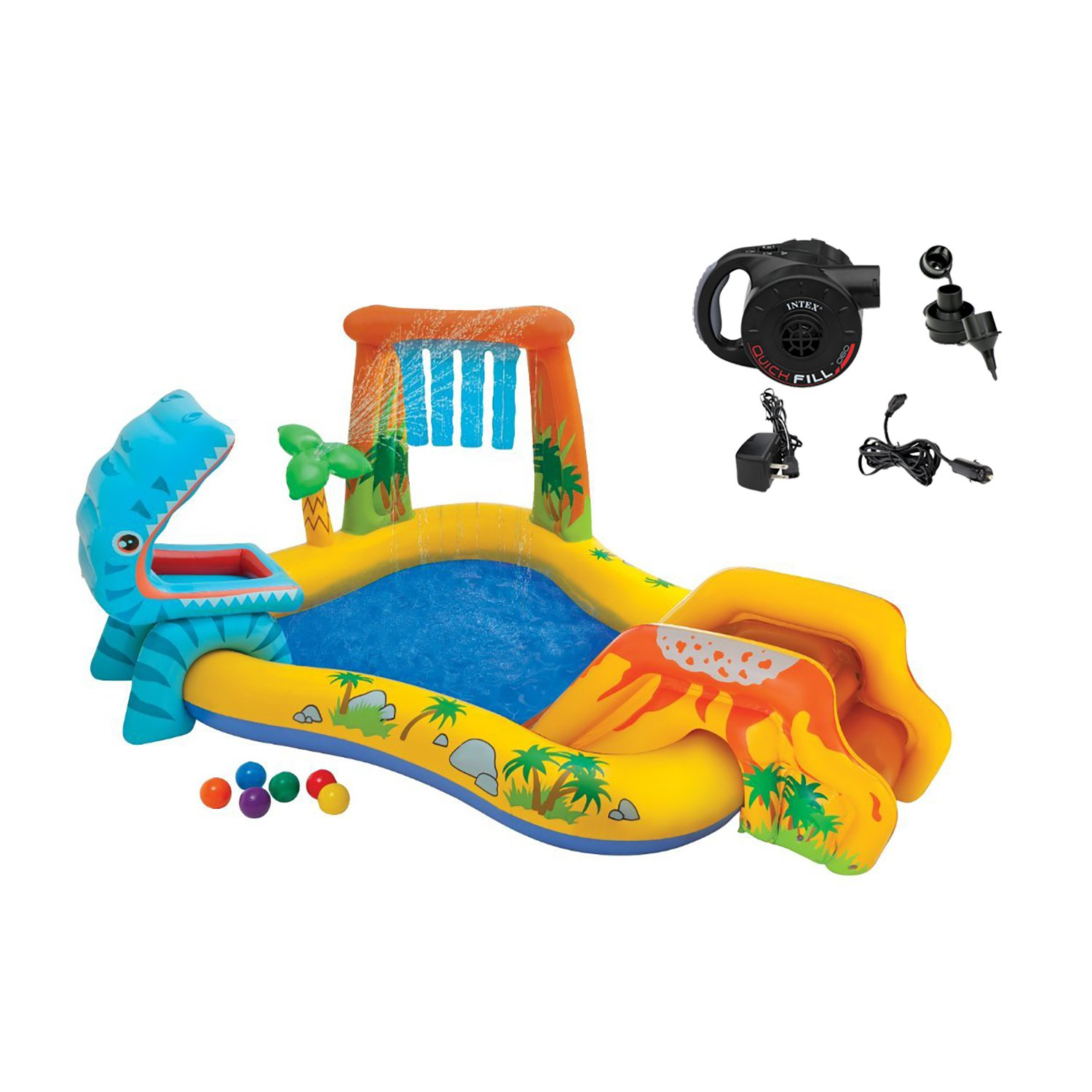 Intex Kids Inflatable Dinosaur Swimming Pool Play Center w/ Quick Fill Air Pump