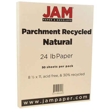 JAM Paper Parchment Paper, 8.5 x 11, 24lb Natural Recycled, 50/pack