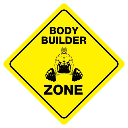 BODY BUILDER ZONE Funny Novelty Crossing Sign - Funny Body Builder