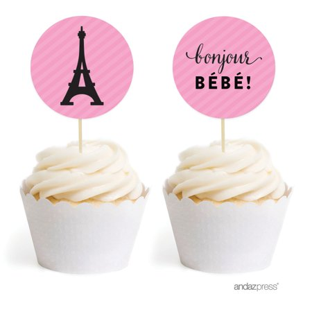 Birthday Cake Walmart Paris Bonjour Bebe Girl Baby Shower Cupcake Topper DIY Party Favors Kit 20 Pack