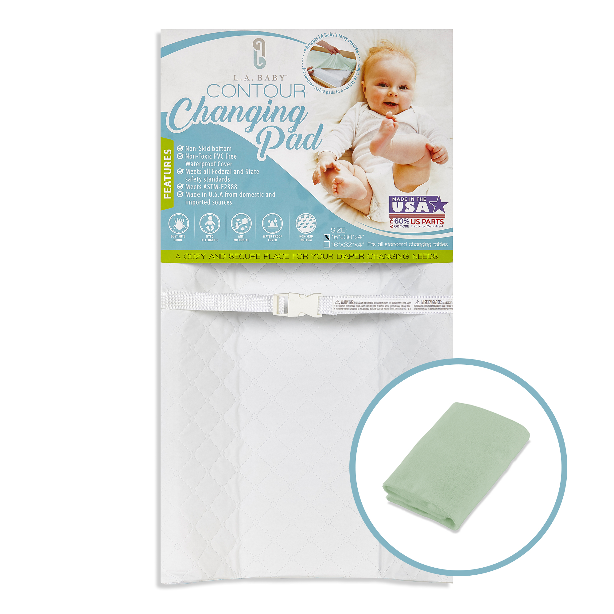 LA Baby Combo Pack with 32'' Contour Waterproof Changing Pad and Mint Terry Cover