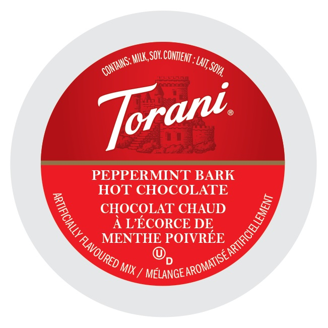 Torani Indulgent Beverages Peppermint Bark Hot Chocolate, Single Serve Cup Portion Pack for Keurig K-Cup Brewers, 96 Count