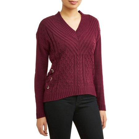 Cable Knit Lambswool (Juniors' Lace-Up V-Neck Cable Knit)
