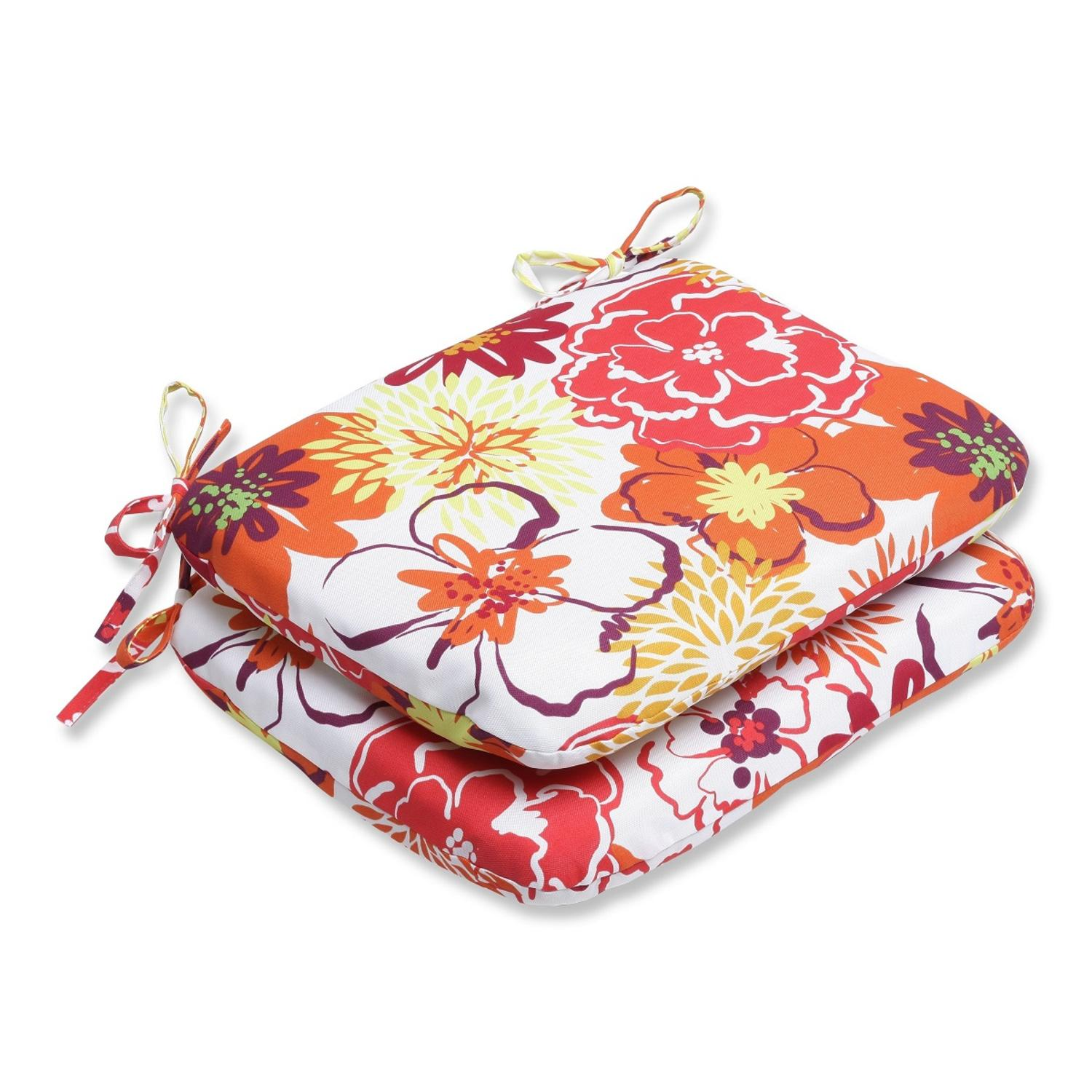 Set of 2 Floreale Spruzzata Red and Yellow Floral Outdoor Patio Rounded Chair Cushions 18.5""