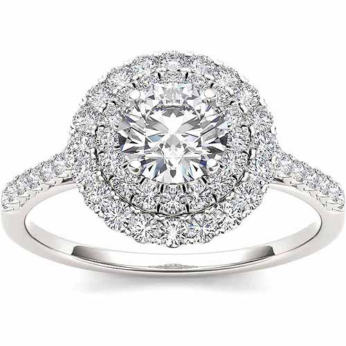 Imperial 1 Carat T.W. Diamond Double Halo 14kt White Gold Engagement Ring