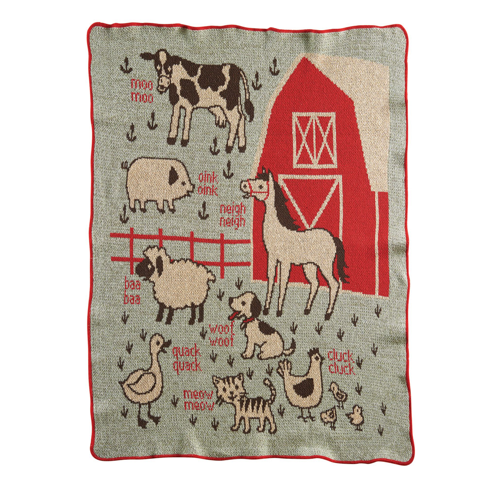 "Farm Babies Throw - Baby/Toddler Crib Blanket - 30"" x 40"""