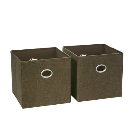 RiverRidge 2 Pc Folding Storage Bin Set - Brown