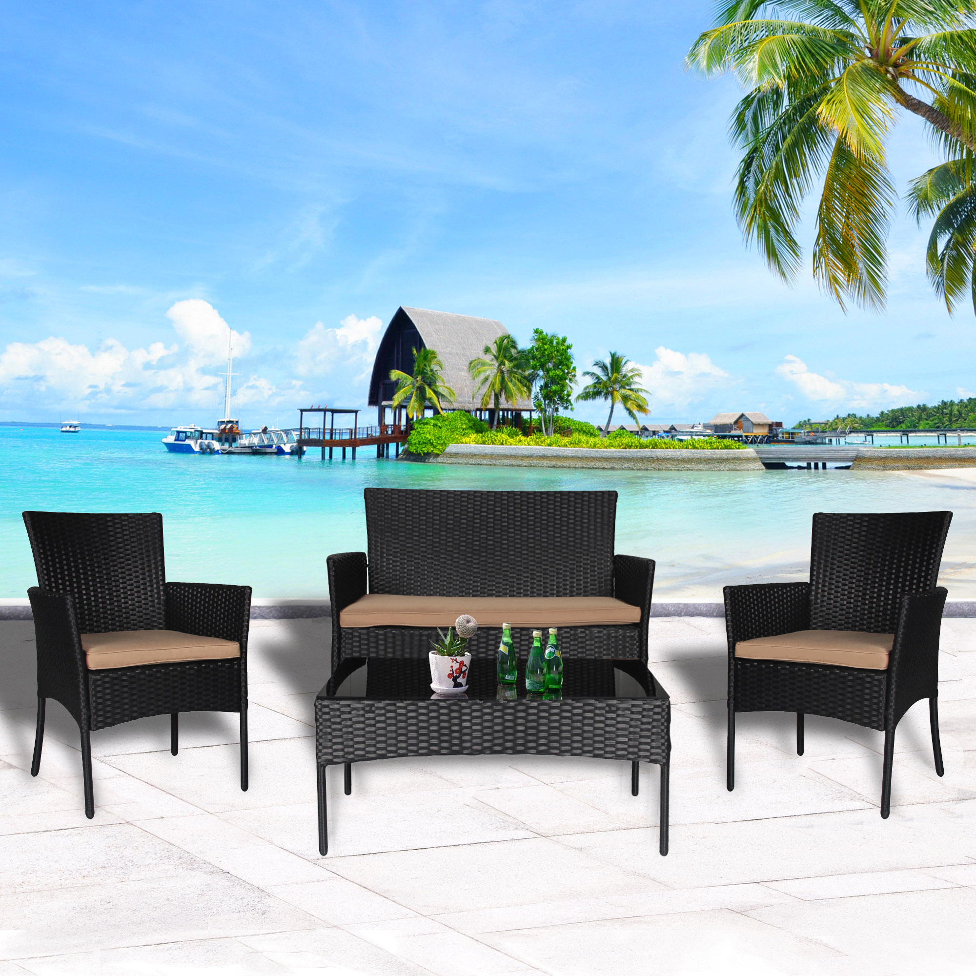 Cloud Mountain Wicker Contemporary 4 Piece Patio Conversation Set by Cloud Mountain