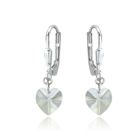 Sterling Silver Clear Dainty Heart Dangle Leverback Earrings Made with Swarovski
