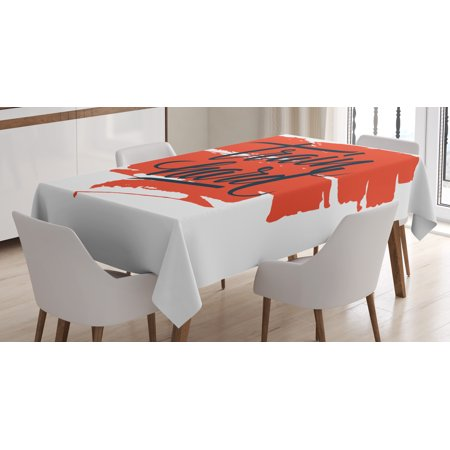 Fitness Tablecloth, Train Hard Inspirational Phrase on Brush Strokes Assiduity Determination, Rectangular Table Cover for Dining Room Kitchen, 52 X 70 Inches, Scarlet Black White, by Ambesonne