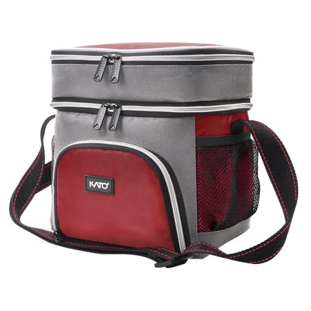 Medium Lunch Bag, Insulated Leakproof Dual Compartment Thermal Cooler Reusable Lunch Tote Front Pockets Zipper Closure by