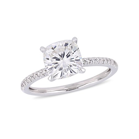 2 Carat T.G.W. Moissanite and 1/10 Carat T.W. Diamond 14kt White Gold Engagement Ring Created Moissanite Engagement Set