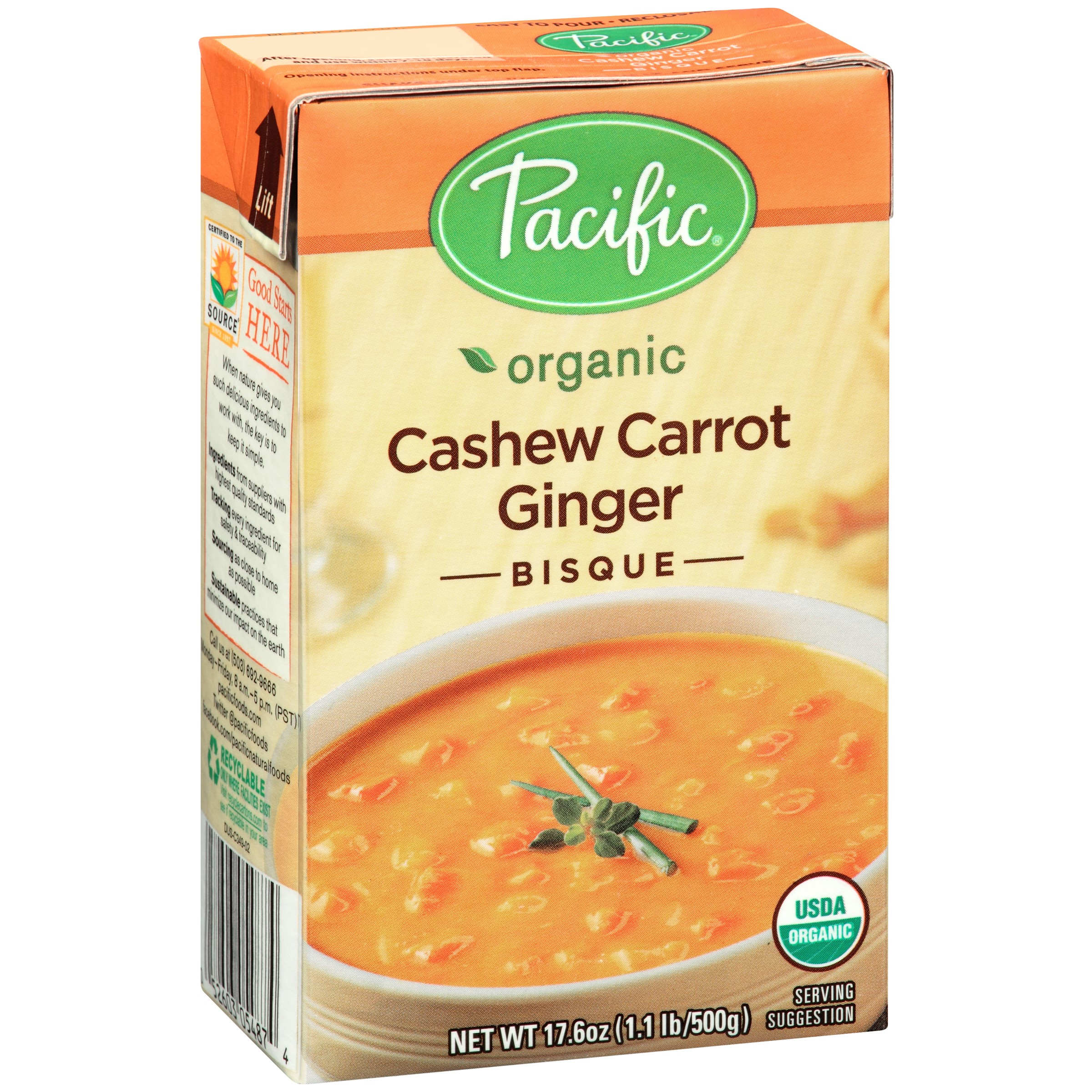 (2 Pack) Pacific Foods Organic Cashew Carrot Ginger Bisque, 17.6-Ounces
