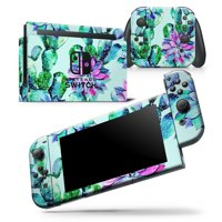 Watercolor Cactus Succulent Bloom V11 - Skin Wrap Decal Compatible with the Nintendo Switch 2DS XL (2017)