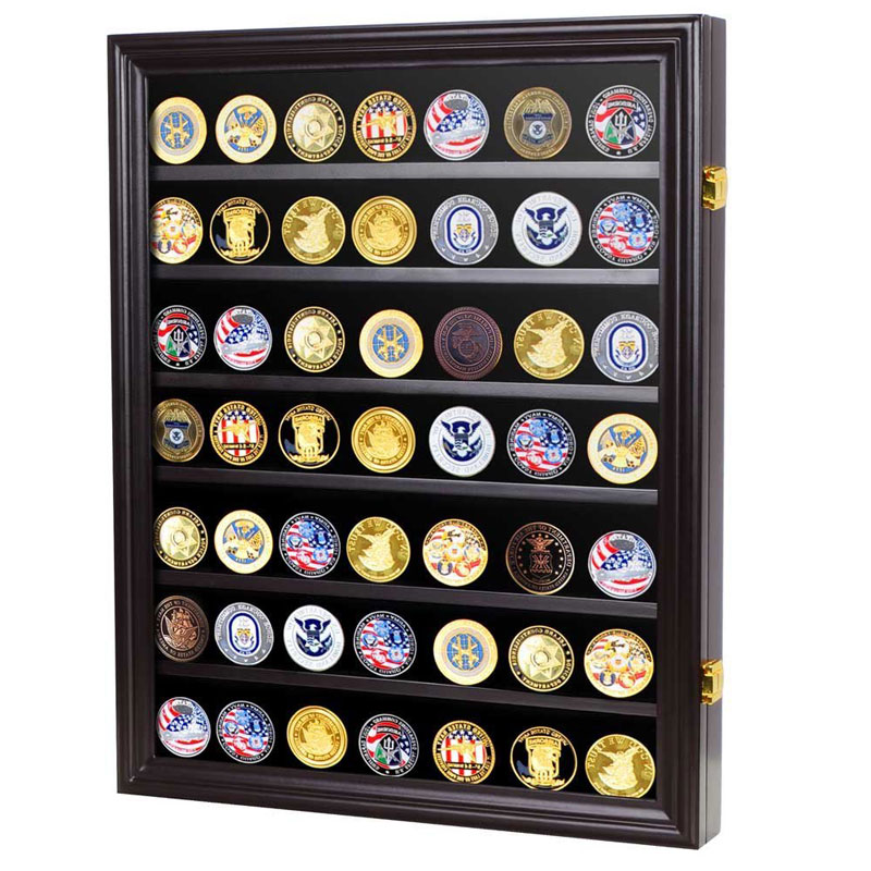 Military Challenge Coin Display Case Wall Cabinet