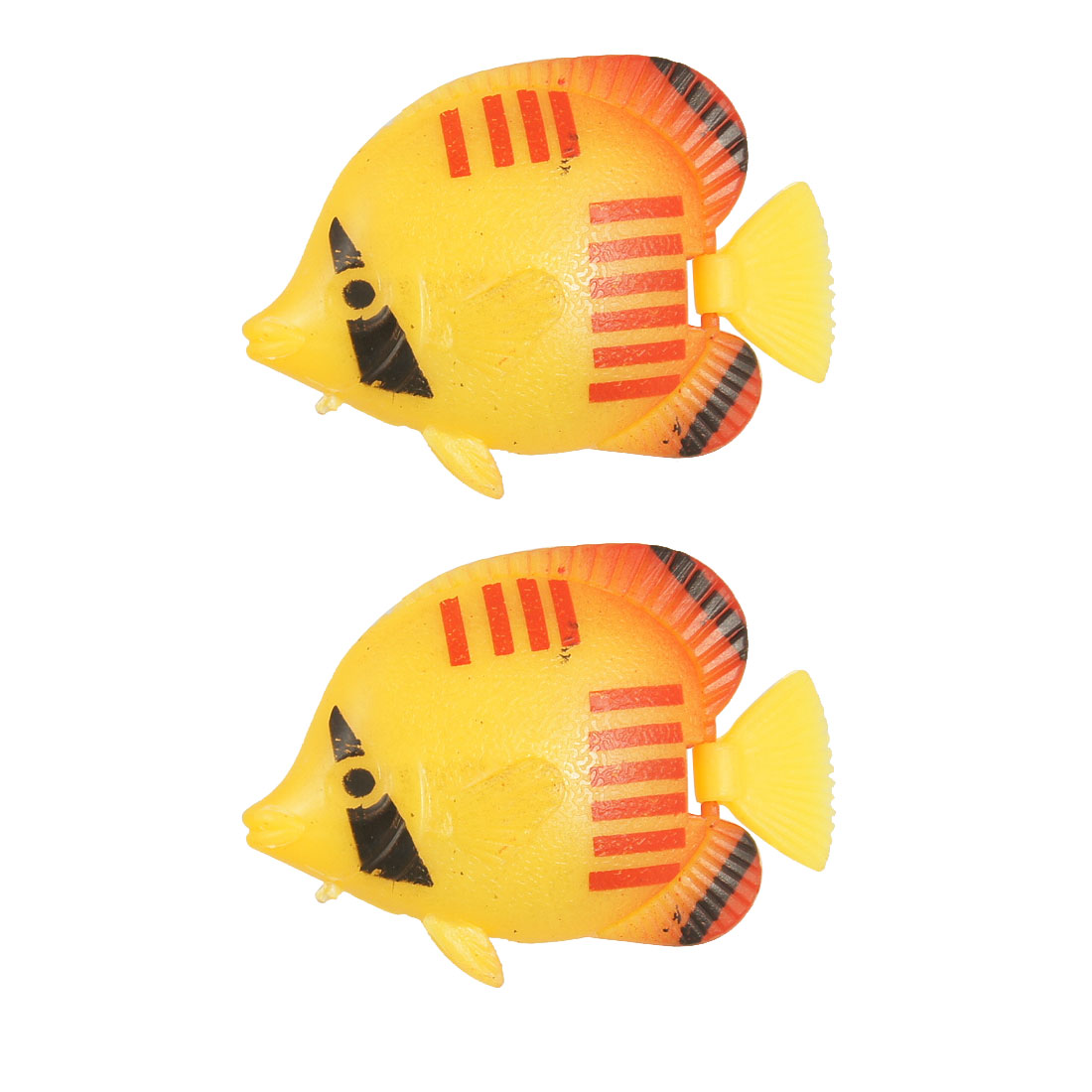 Unique Bargains 2 Pcs Aquarium Water Floating Red Stripe Yellow Fish Ornament