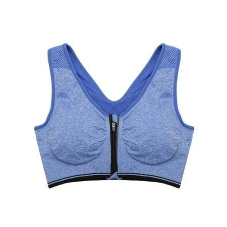 566252d597774 Women Zipper Stretch Sports Bra Running Gym Yoga Padded Fitness Workout Top  Tank - Walmart.com