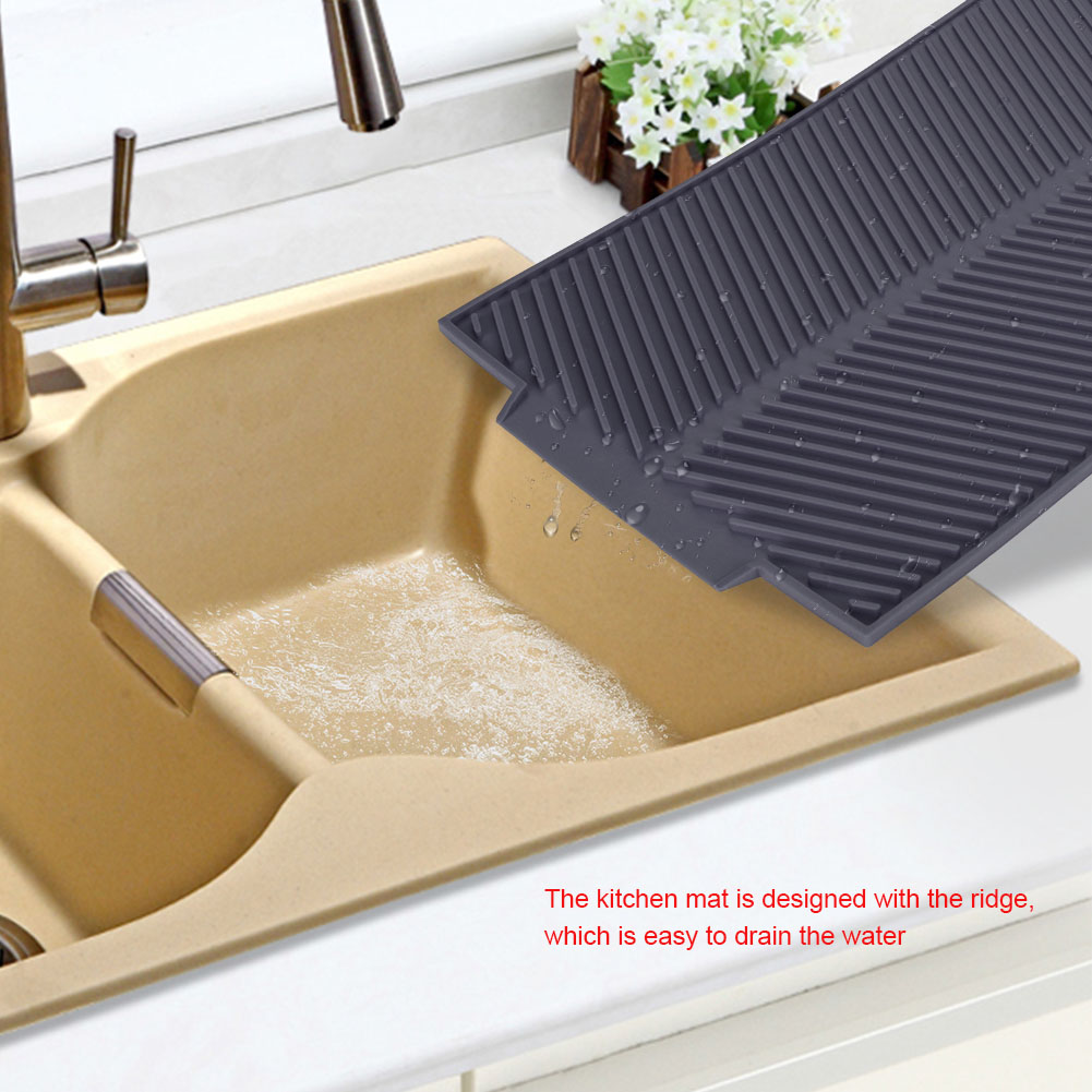 Home Kitchen Sink Silicone Drain Mats Dishes Cups Drying Pads Non-slip 2 Color