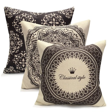 Vintage Geometric Flower Throw Pillow Cushion Cover 18''x18'' Cotton Linen PillowCase Standard Decorative Pillowslip Pillow Protector Cover Case for Sofa Couch Chair Car Seat Vintage Throw Pillows