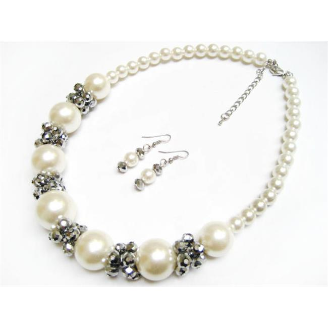 Alur Jewelry 18651CM 21 in. Big Bead Necklace-Earring Cream