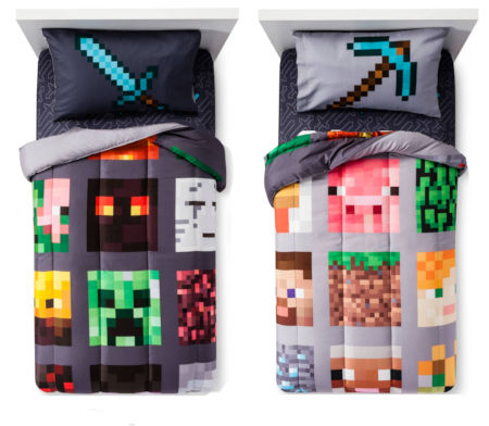 Minecraft Twin Comforter and SHeet Set with Throw by