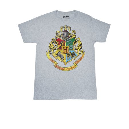 Crest Short Sleeve T-shirt - Men's Harry Potter Hogwarts Crest T-Shirt - Short Sleeve Gray