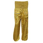Mogul Women's Harem Pants Yellow Floral Print Smocked Waist Yoga Pant