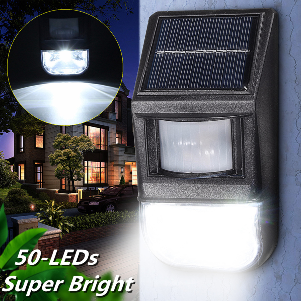 50LED Outdoor Wall Lights PIR Solar Powered Motion Sensor Waterproof Auto ON/OFF Security Night Light For Garden Path Landscape Fence Driveway Garage Lamp
