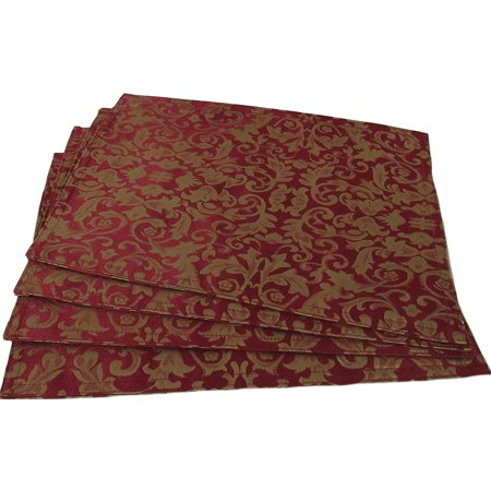 Set of 4 Damask Table Placemats in Ruby Red (Best Gopro Deals Uk)
