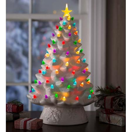 Lighted Ceramic Battery Operated Christmas Tree Walmart Com