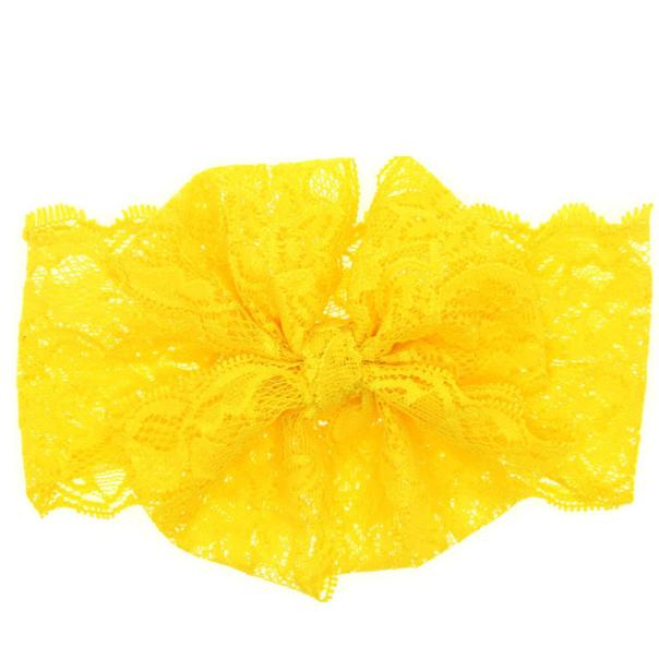 Outtop Fashion Girls Lace Big Bow Hair Band Baby Head Wrap Band Accessories Yellow