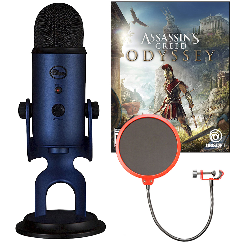 BLUE MICROPHONES Midnight Blue Yeti with Assassin's Creed Odyssey Digital PC Version Plus Pop Filter Bundle
