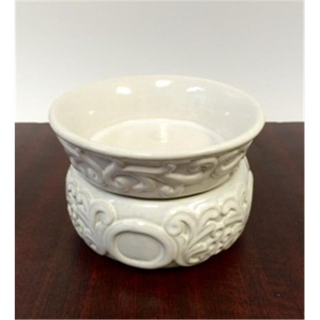 Baroque Stoneware Ivory Burner Candle Holder