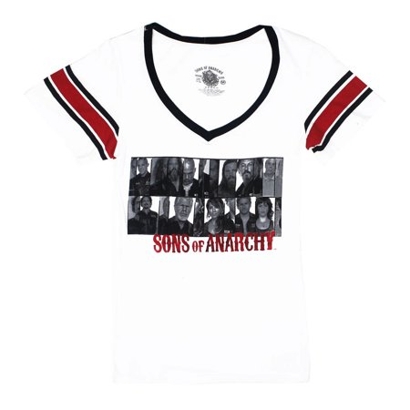 Sons of Anarchy Group Photo Shoot Juniors White T-Shirt | S](Group Photo Clothing Ideas)