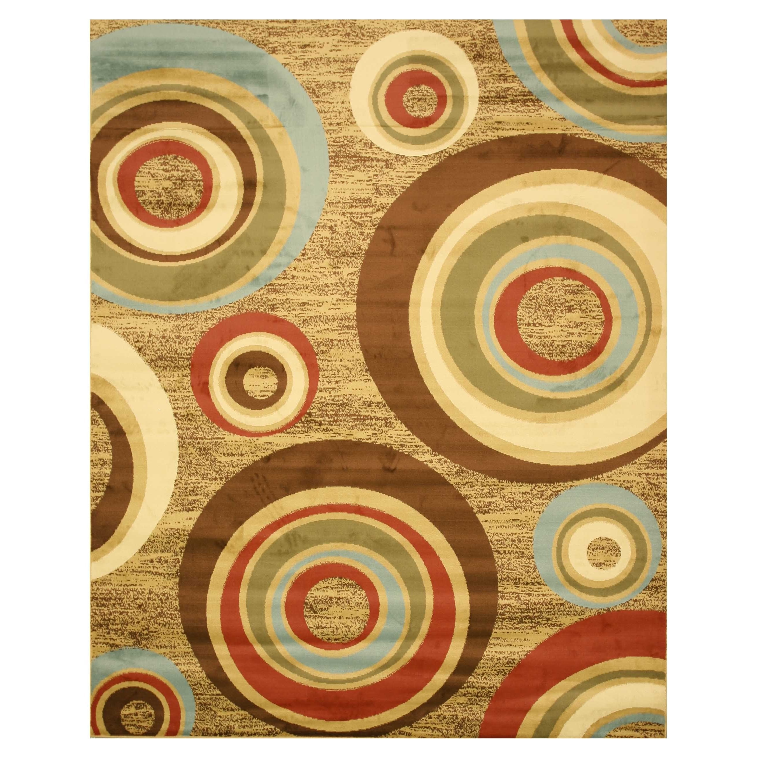 EORC Beige Modern Abstract Prego Rug (5'3 x 7'3) - 5'3 x 7'3