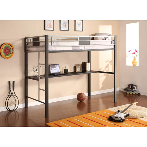 Silver Screen Twin Loft Bed with Desk
