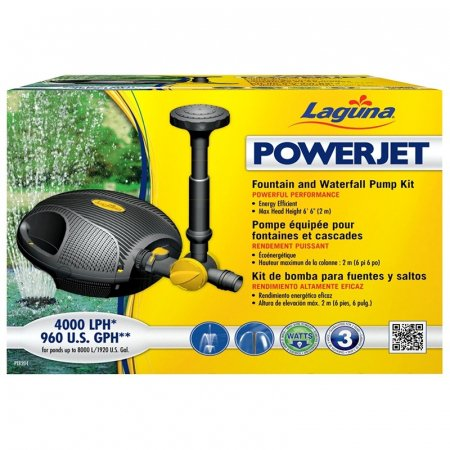 Backyard Waterfall Ponds (Laguna Powerjet Fountain Waterfall Pump Kit - 960 GPH - 57 Watts - 6'6