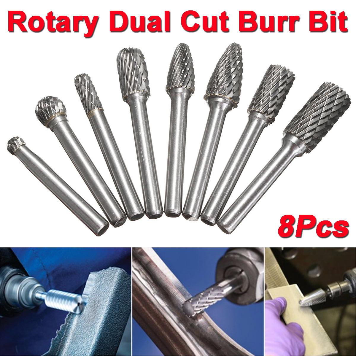 8Pcs 1//4'' Double Cut Carbide Alloy Rotary Burr Shank File Power Tools Set Hot