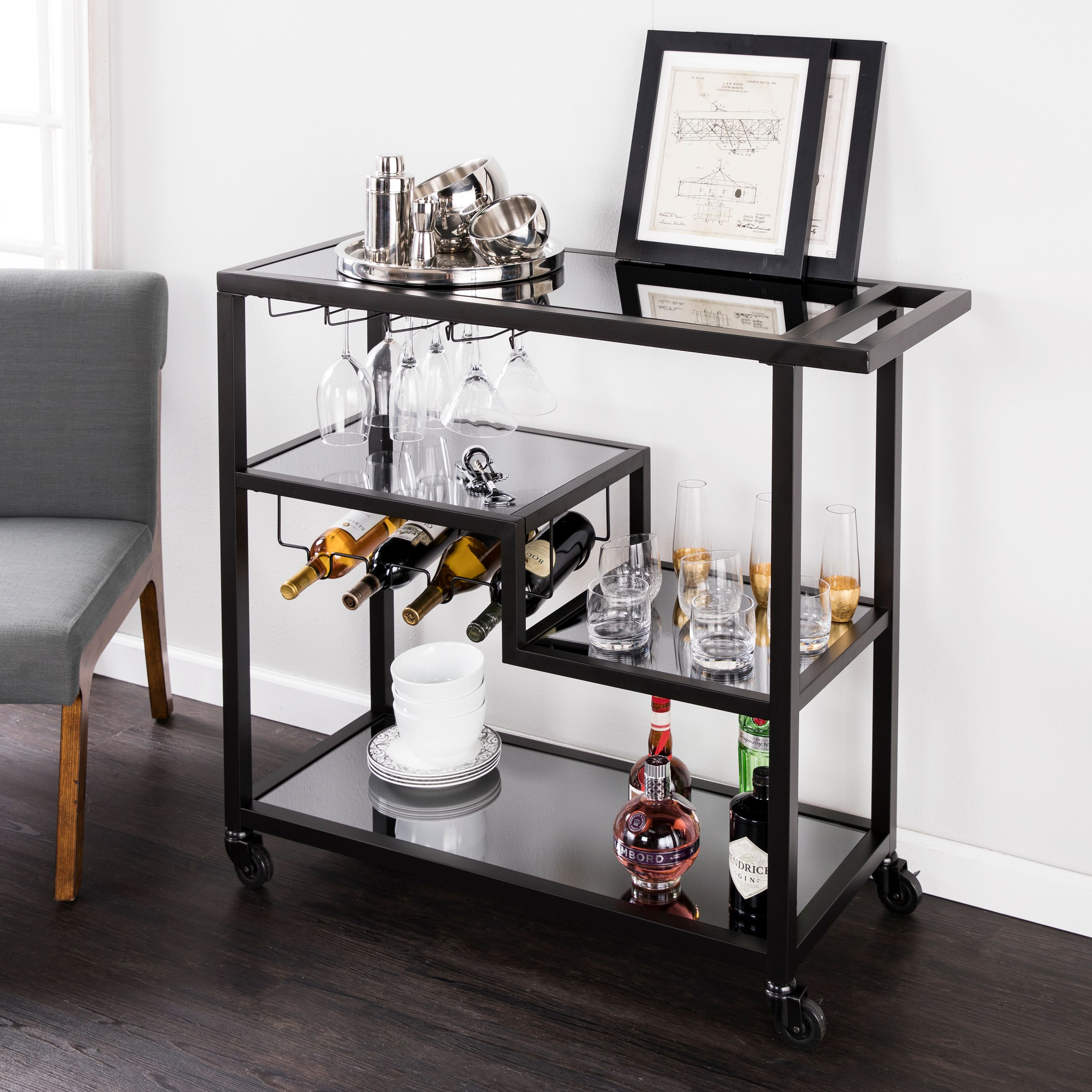 Holly & Martin Zephs Bar Cart, Black w/ Smoked Mirror