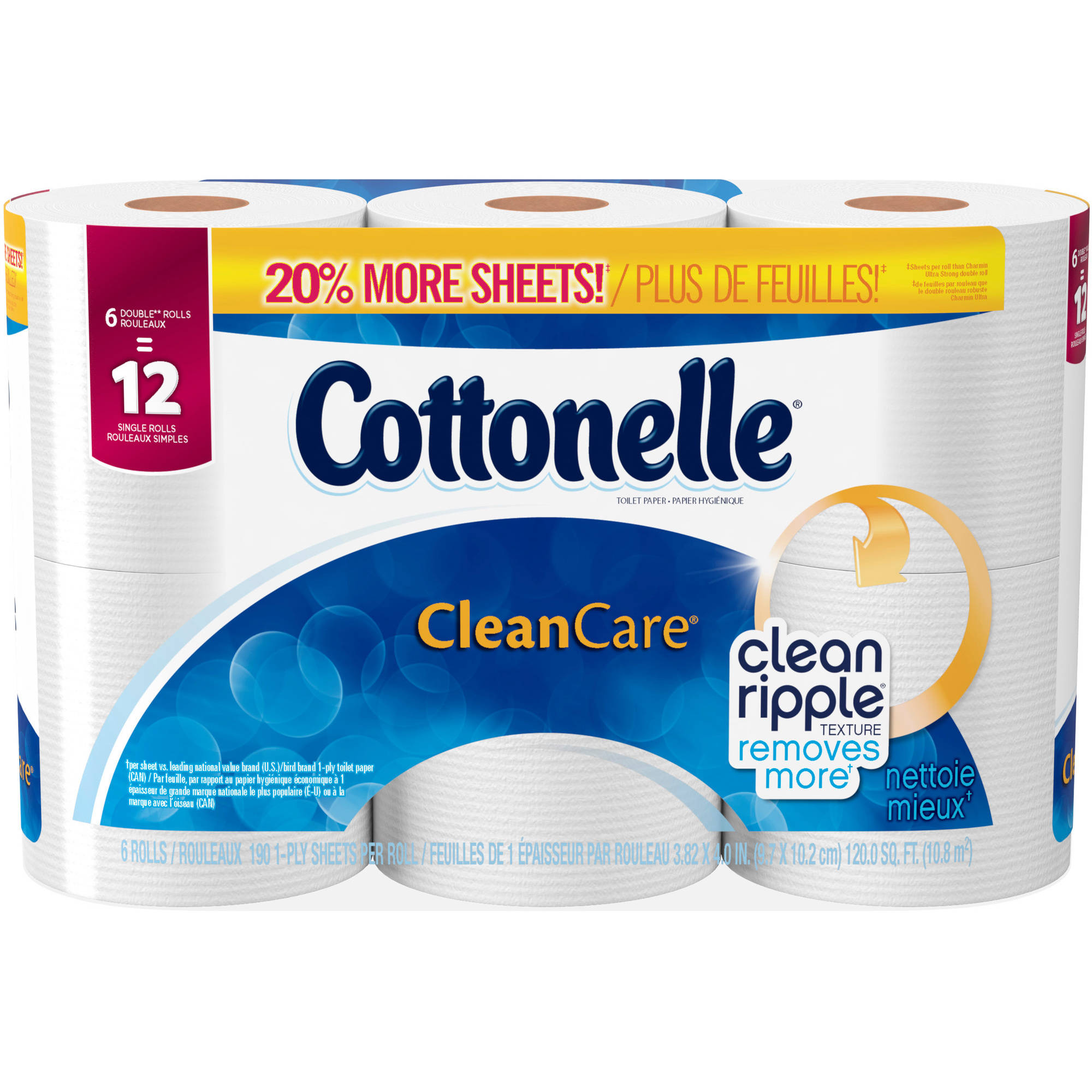 Cottonelle Clean Care Toilet Paper Double Rolls, 208 SHeets, 6 rolls by KIMBERLY-CLARK
