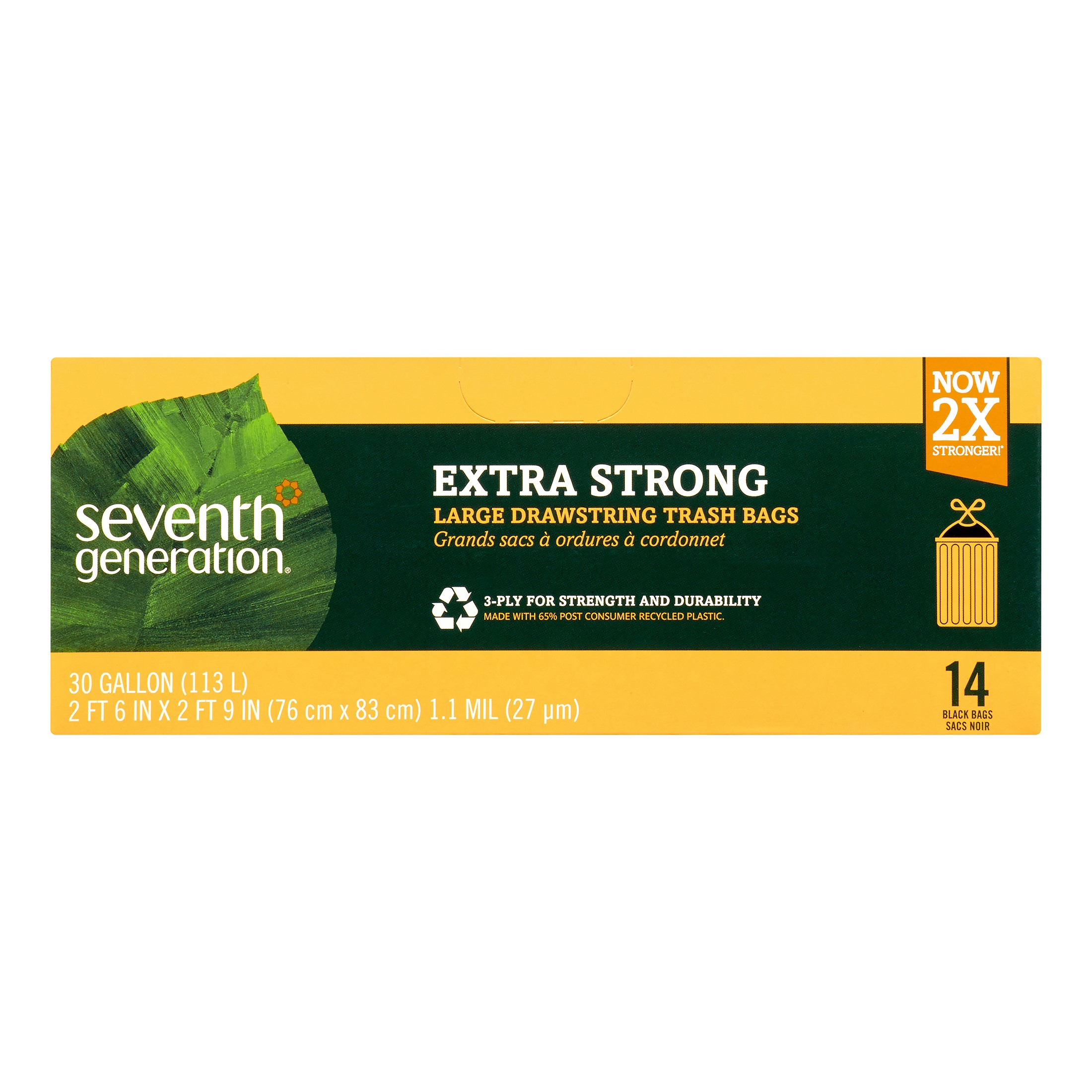 Seventh Generation™ Black 30 gal. Extra Strong Large Drawstring Trash Bags 14 ct Box