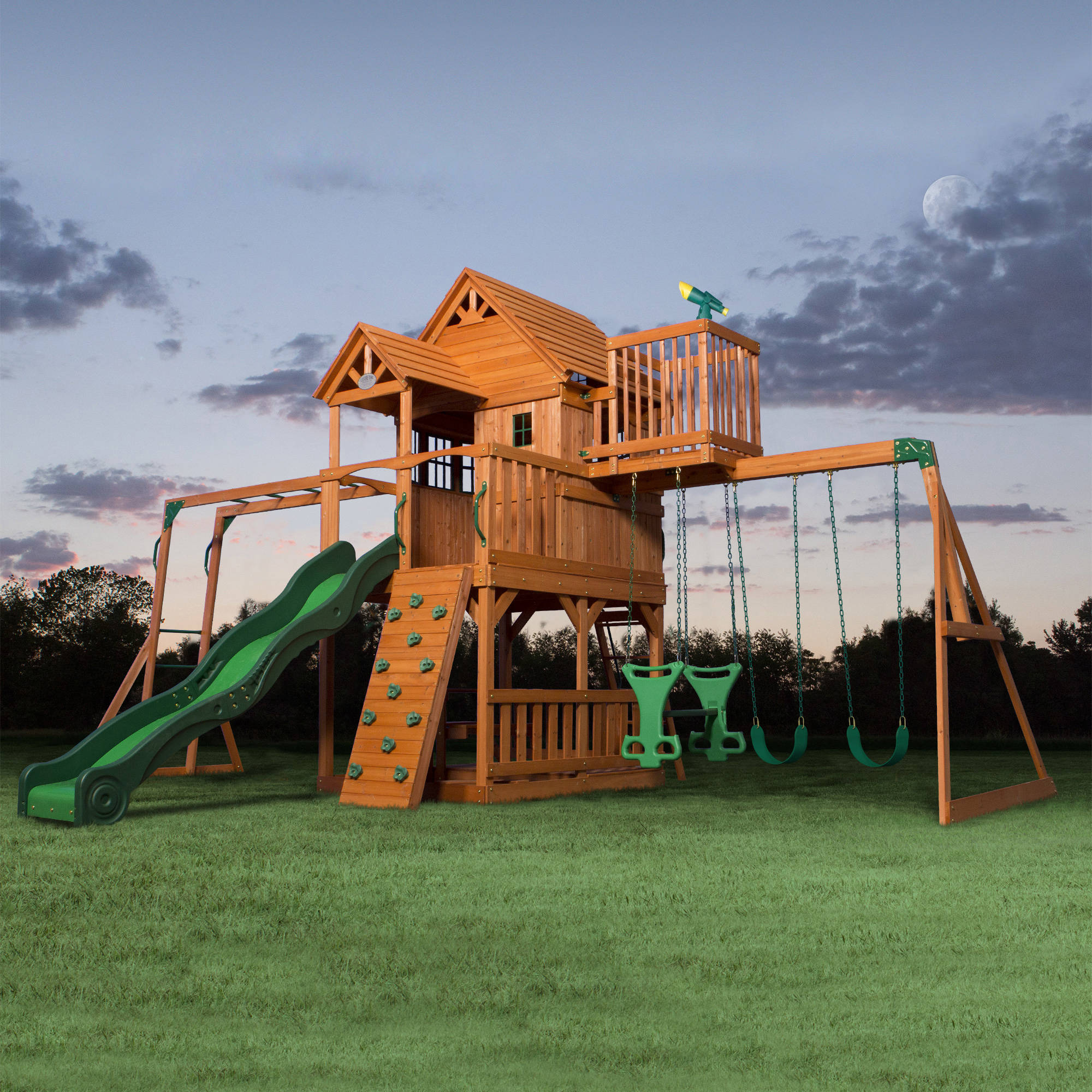 Backyard Discovery Skyfort II Wooden Cedar Swing Set Walmart