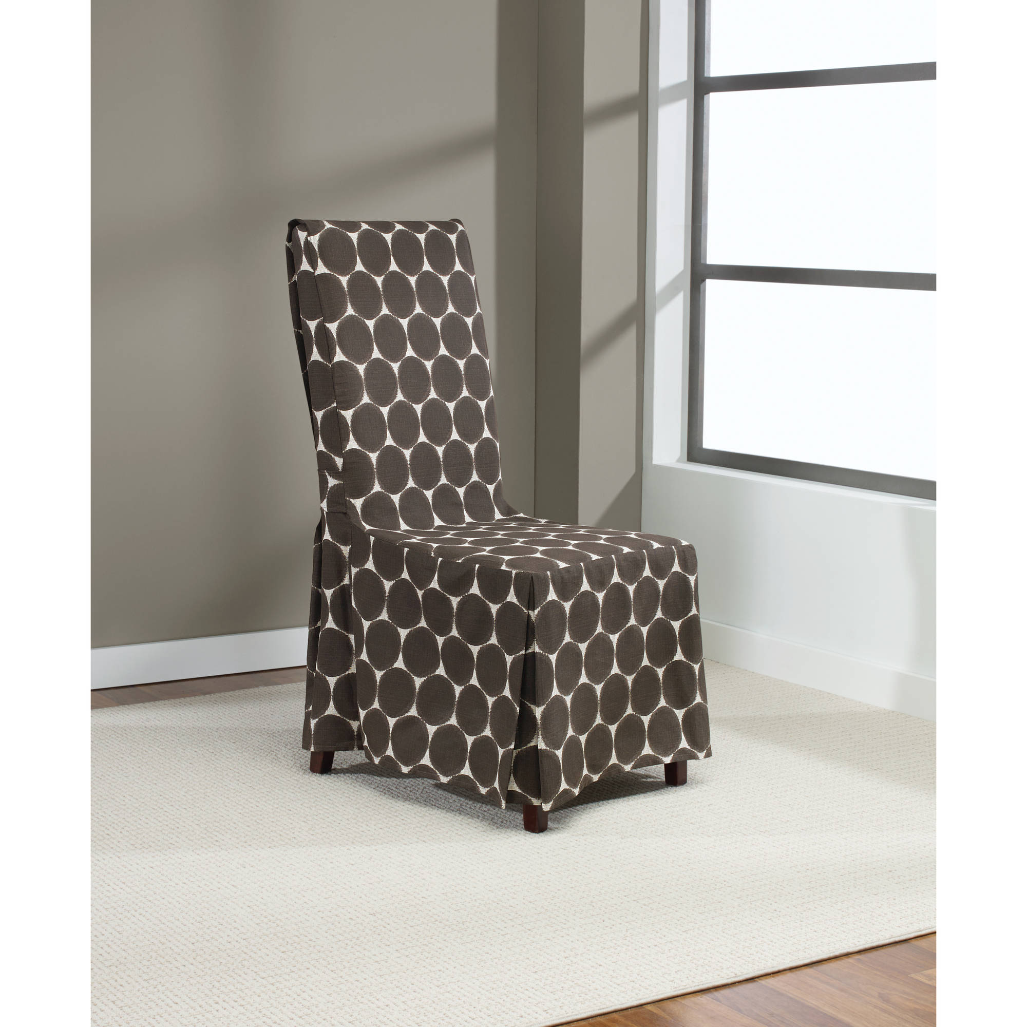 Sure Fit Ikat Dot Dining Room Chair Cover, Chocolate