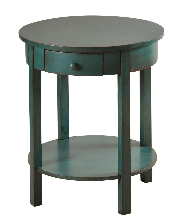 round side table blue finish. Black Bedroom Furniture Sets. Home Design Ideas