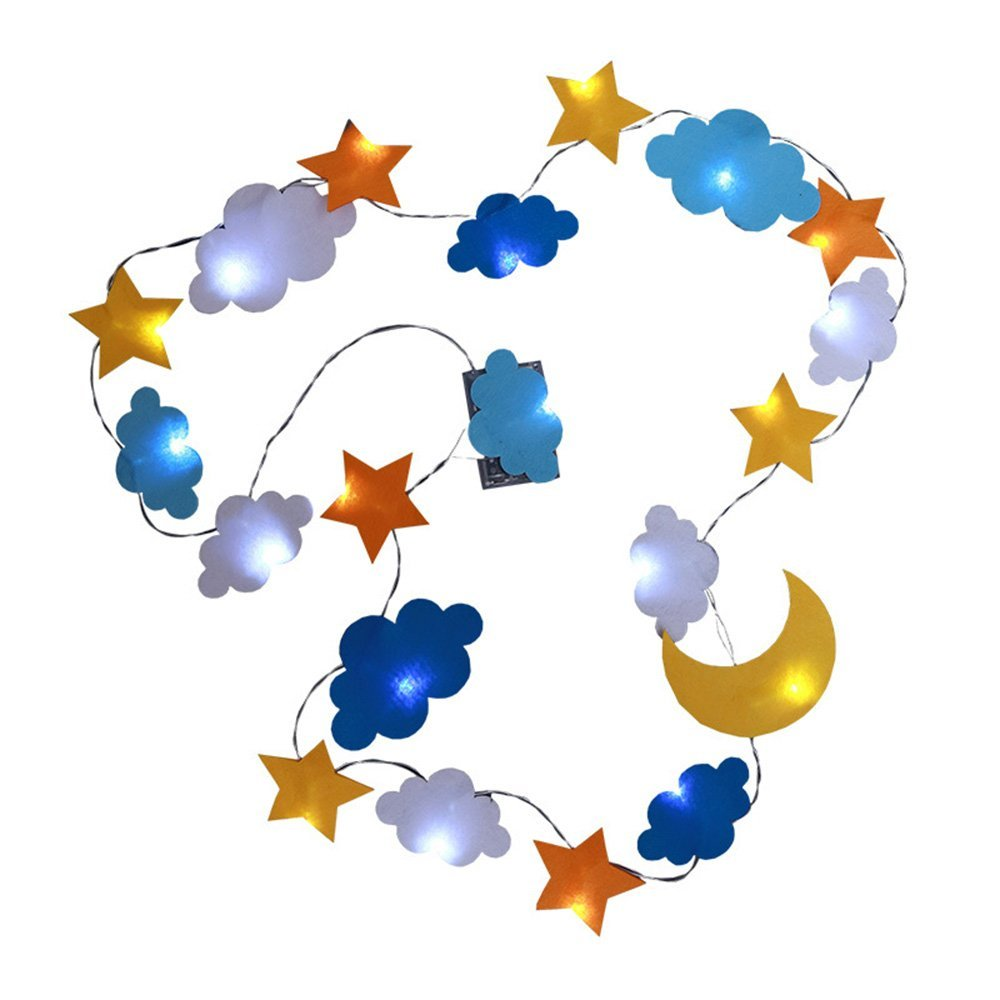 Party Supplies, Star Cloud Moon Shaped LED Light Up Hanging Banners for Party Decorations, Birthday, Wedding, Baby Shower, Christmas, Festivals and Bar - Kids&Baby's Room Decorations (Battery Powered)