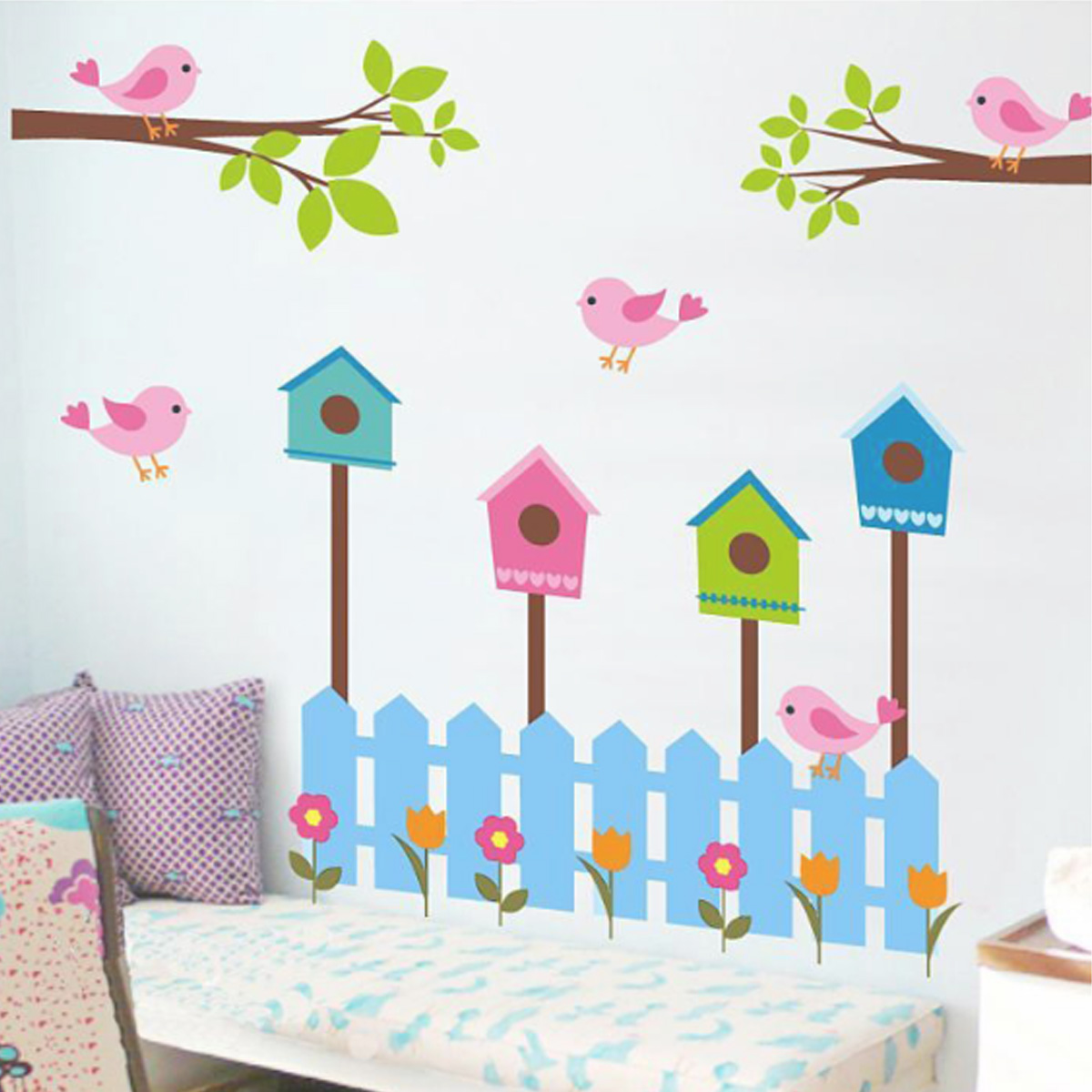 DIY Removable Decal Home Room Decor Birdcage Tree Flower Wall Sticker Wallpaper