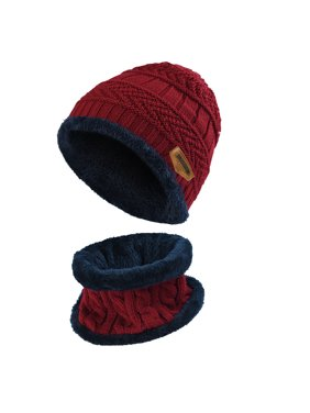 Kids Warm Knitted Hat and Circle Scarf with Fleece Lining, for Boys and Girls, Wine Red, 2 Pieces