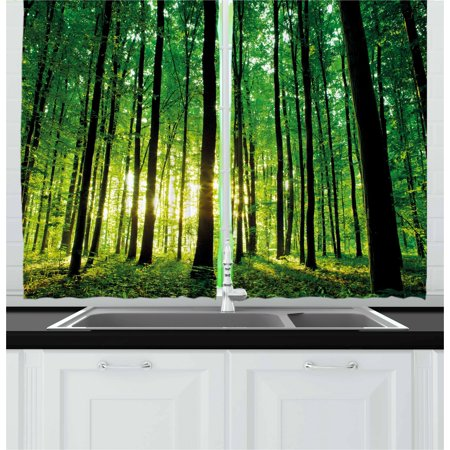 Forest Curtains 2 Panels Set, Green Woodland at Sunrise Scenic Morning Nature Environment Ecology Serenity, Window Drapes for Living Room Bedroom, 55W X 39L Inches, Green Black Yellow, by Ambesonne