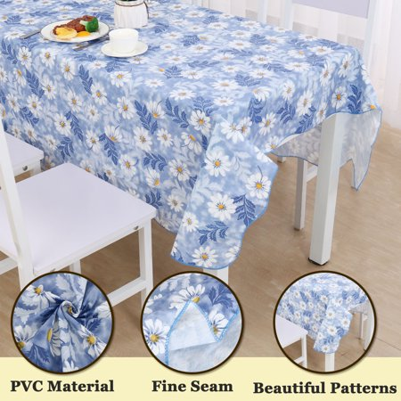 "Vinyl Plastic Tablecloth for Square Tables 53"" x 53"" Daisy Pattern, Wedding/Restaurant/Parties Decoration, Water Oil Res - image 2 of 8"